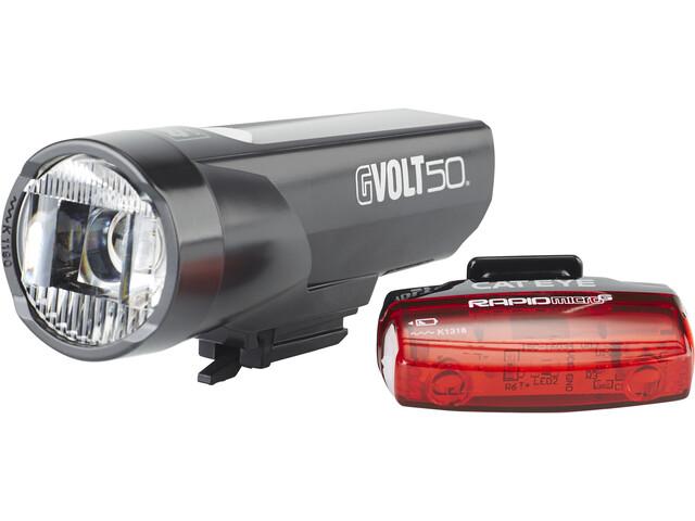 CatEye GVolt 50 HL-EL550GRC + Rapid Micro G Hl-EL620G Set schwarz/rot